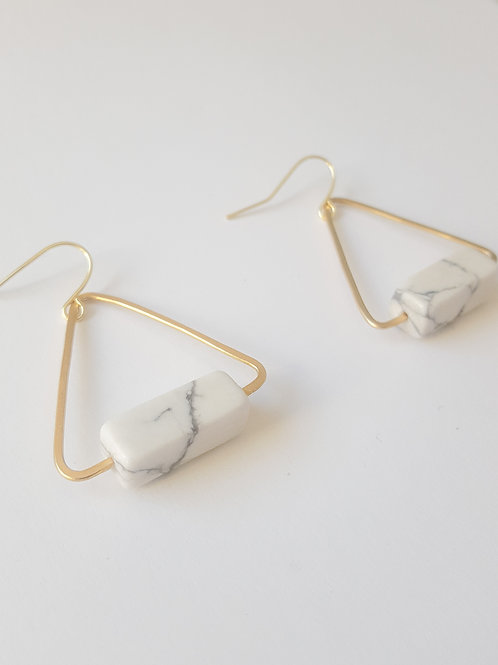 White Buffalo Geometric Earrings
