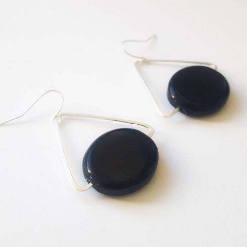 Onyx and Silver Geometric Earrings