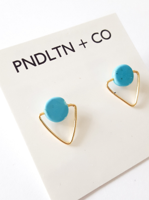 Geometric Turquoise and Gold Stud Earrings