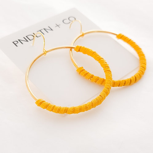 Dandelion Yellow Faux Leather Wrapped Hoops