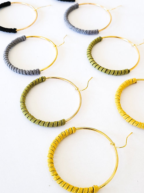 70's style Faux Leather Wrapped Hoops Natural (multiple colors)