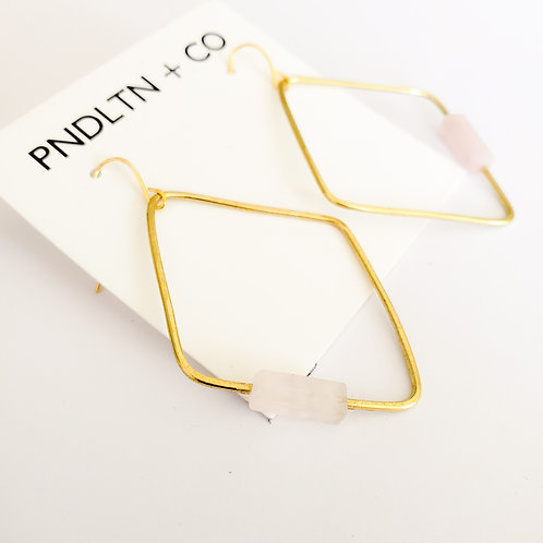 Gold Diamond Hoops with Stone Detail