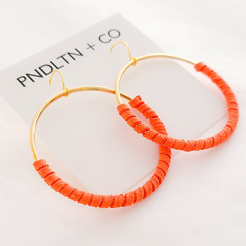 Orange Faux Leather Wrapped Hoops