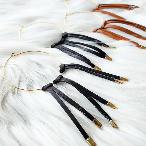 Leather Wrapped Fringe Hoops