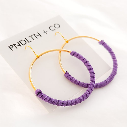 Violet Faux Leather Wrapped Hoop Earrings