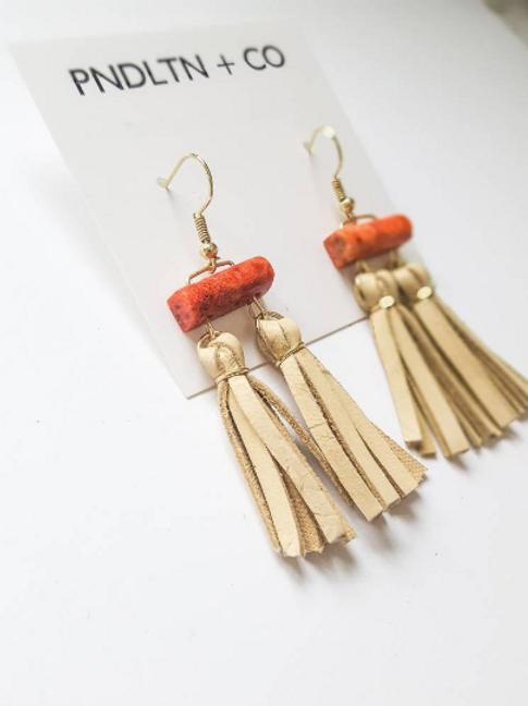 Red Jasper earrings with beige suede tassels