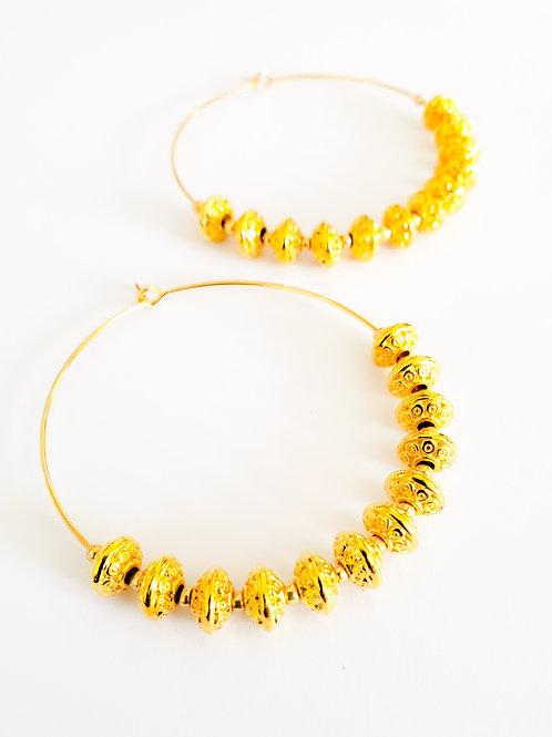Vintage Bead Gold Hoops