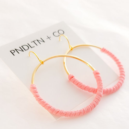 Bubble Gum Pink Faux Leather Wrapped Hoop Earrings