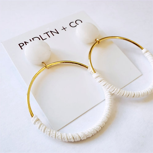 Quartz and Faux Leather Wrapped Hoops