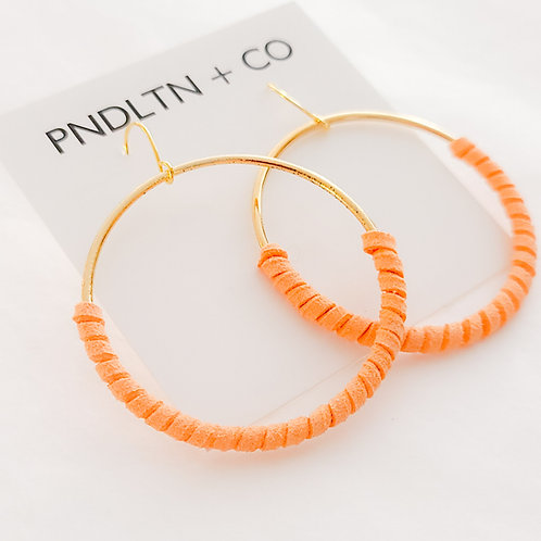 Tangerine Orange Faux Leather Wrapped Hoops