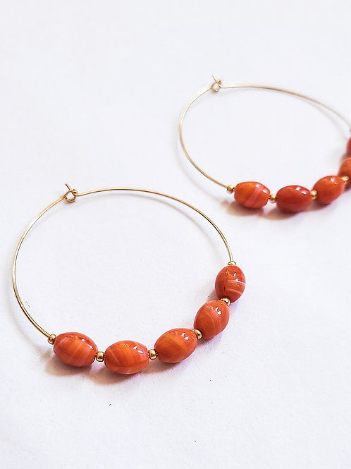 River Stone Gold Hoops