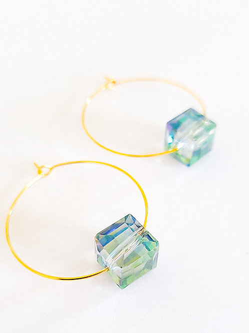 Dainty Square Crystal Hoops