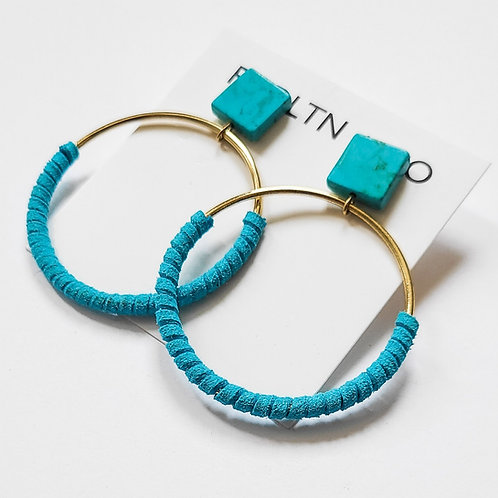 Turquoise and Faux Leather Wrapped Gold Hoops