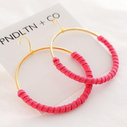 Neon Pink Faux Leather Wrapped Hoop Earrings