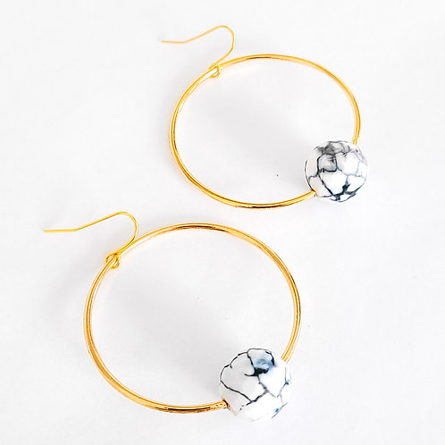 Marbled Agate Stone and Gold Hoops
