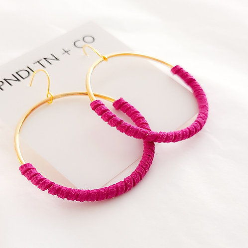 Magenta Faux Leather Wrapped Hoop Earrings