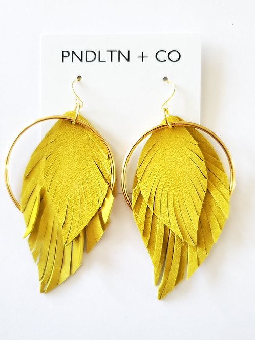 24 karat Gold Hoop with Chartreuse Suede Feather