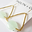 Thumbnail: Jade and Gold modern Triangle Earrings