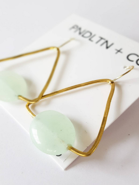 Jade and Gold modern Triangle Earrings