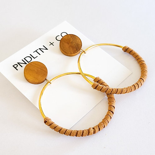Recycled Wood and Fuax Leather Hoops