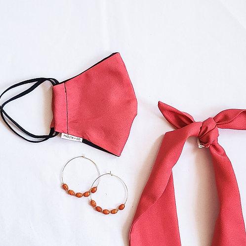 Coral Satin Mask +Headband