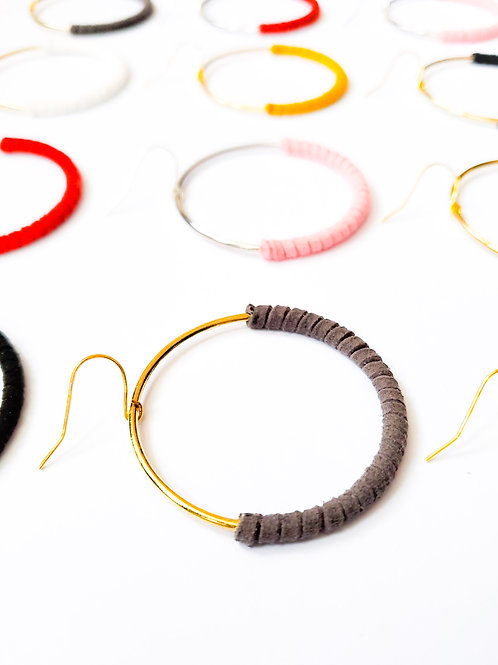Faux Leather Wrapped Hoops Bright