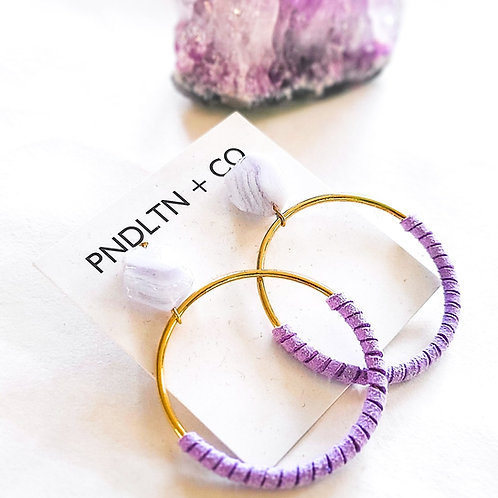 Amethyst Crystal and Gold Hoops