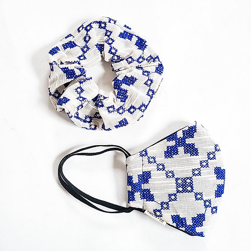 Blue Embroidery Scrunchie + Mask