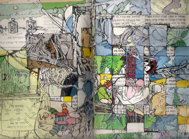 memories #1collage and pen in found book,30/20 cm ,2007
