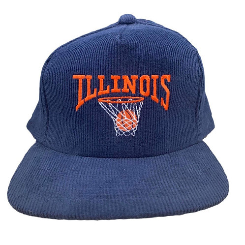 Vintage Illinois NCAA Cord Snapback Hat By Yupong