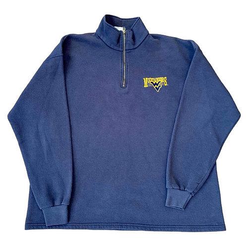 Vintage West Virgina 1/4 Zip Sweater By Lee Sports