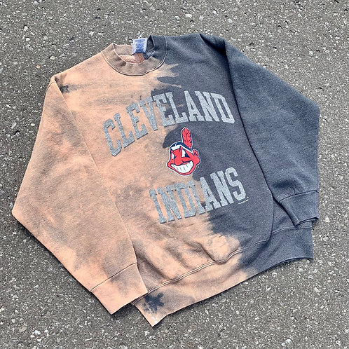 Vintage Cleveland Indians Tie Dye Crewneck Sweater By Pro Player