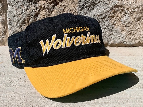 Vintage Michigan Wolverines Sports Specialties Script Snapback Hat