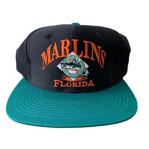 Vintage Florida Marlins Snapback Hat By Signature