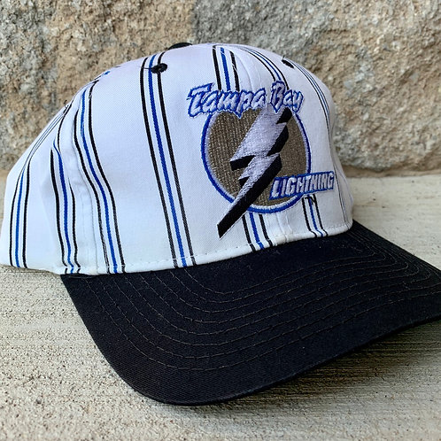 Vintage Tampa Bay Lighting Pinstripe Snapback Hat By Stater