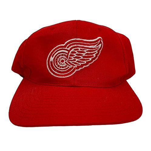 Vintage Detroit Red Wings Plain Logo Snapback Hat By Starter