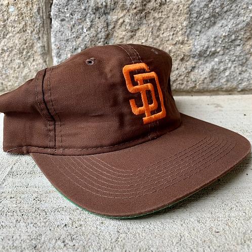 Vintage San Diego Padres Plain Logo Snapback Hat By Drew Pearson