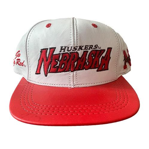 Vintage Nebraska Huskers Leather Snapback Hat By Modern