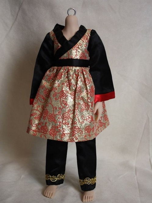 Red/gold lame' top with black satin pants & gold braid trim