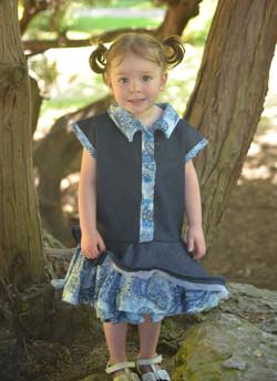 Denim Double Skirt Dress