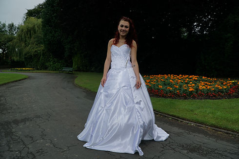 Fan Folded style satin wedding dress