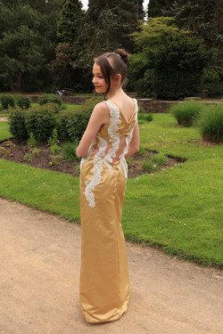 Gold Satin Duchess Prom Dress