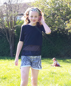 Pseudo Crop-top And Patterened Shorts
