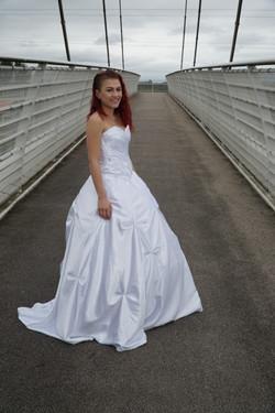 Fan Folded style satinwedding dress