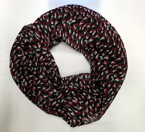 226 Scarf, Infinity, Red/ Black Swirls