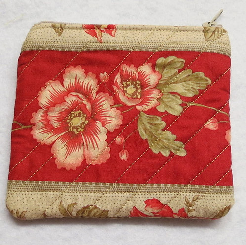 414 Wristlet, Floral Red & Cream