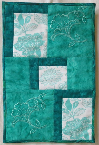 406 Turquoise Floral Wall Hanging