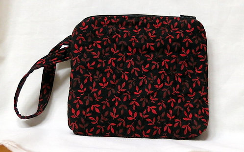 487, 512 Wristlet and ID Holder set, Red and Black Leaf