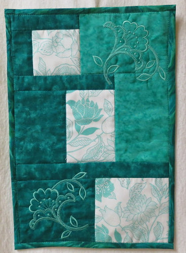405 Wallhanging or Table Mat, Turquoise Flowers