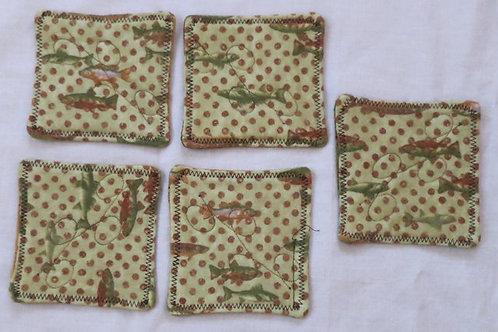 209c,d,e Coasters, Flannel Fish